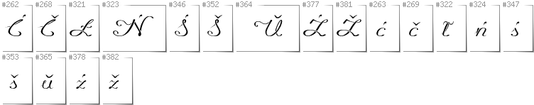 Belarusan Lacinka - Additional glyphs in font Promocyja