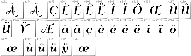 French - Additional glyphs in font QumpellkaNo12