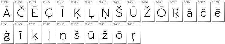 Latvian - Additional glyphs in font Rawengulk