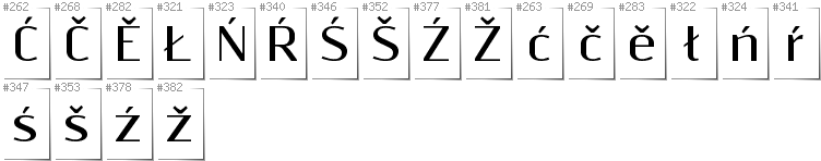 Lower Sorbian - Additional glyphs in font Resagnicto