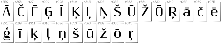 Latvian - Additional glyphs in font Resagnicto