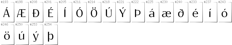 Icelandic - Additional glyphs in font Resagokr