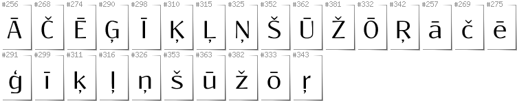 Latvian - Additional glyphs in font Resagokr