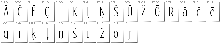 Latvian - Additional glyphs in font Reswysokr