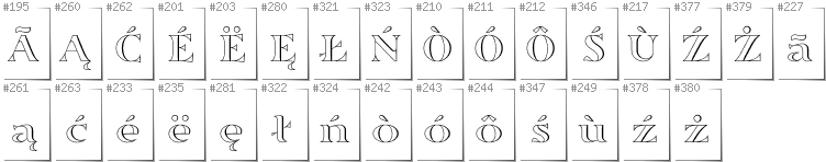 Kashubian - Additional glyphs in font Sortefax