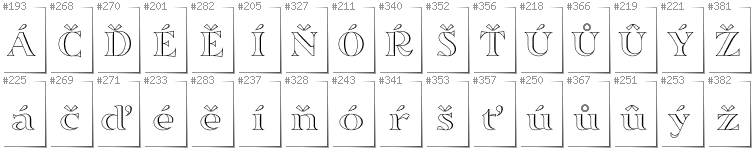 Czech - Additional glyphs in font Sortefax