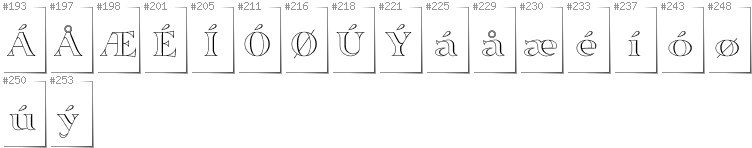 Danish - Additional glyphs in font Sortefax