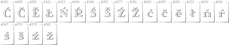 Lower Sorbian - Additional glyphs in font Sortefax