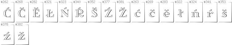 Upper Sorbian - Additional glyphs in font Sortefax