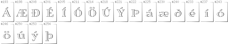 Icelandic - Additional glyphs in font Sortefax