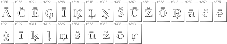 Latvian - Additional glyphs in font Sortefax