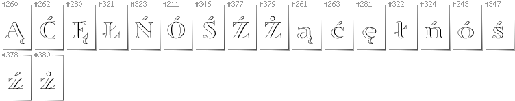 Polish - Additional glyphs in font Sortefax