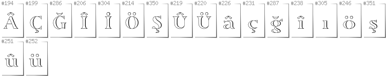 Turkish - Additional glyphs in font Sortefax