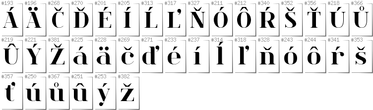Slovakian - Additional glyphs in font Spinwerad