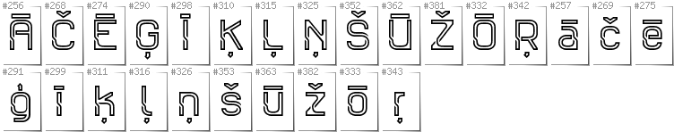 Latvian - Additional glyphs in font Sportrop