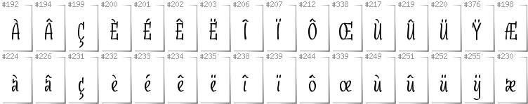 French - Additional glyphs in font SudegnakNo3