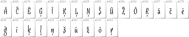 Latvian - Additional glyphs in font SudegnakNo3