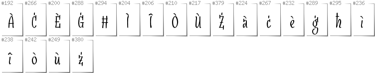 Maltese - Additional glyphs in font SudegnakNo3