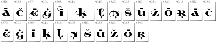 Latvian - Additional glyphs in font Wabroye