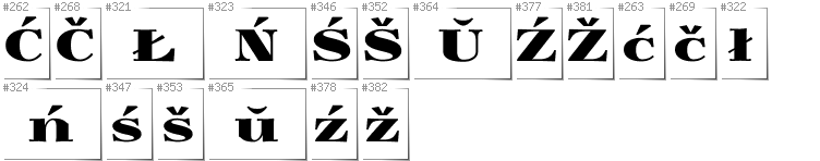 Belarusan Lacinka - Additional glyphs in font Yokawerad
