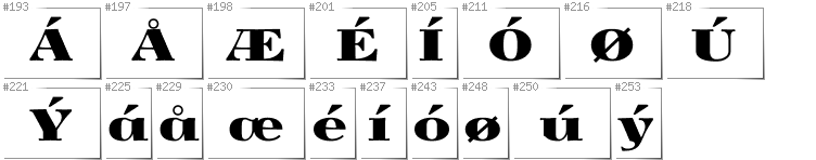 Danish - Additional glyphs in font Yokawerad