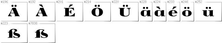 German - Additional glyphs in font Yokawerad