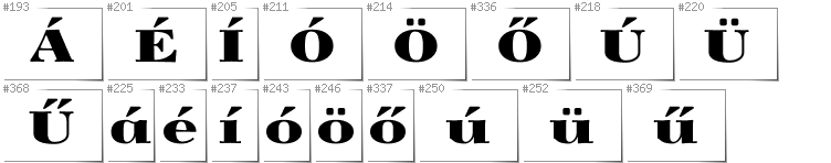 Hungarian - Additional glyphs in font Yokawerad