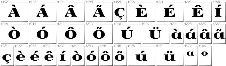 Portugese - Additional glyphs in font Yokawerad
