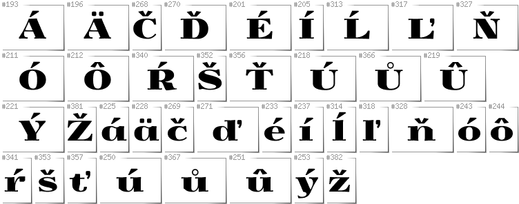Slovakian - Additional glyphs in font Yokawerad