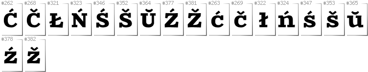Belarusan Lacinka - Additional glyphs in font Zantroke
