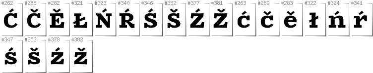 Lower Sorbian - Additional glyphs in font Zantroke
