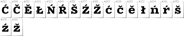 Upper Sorbian - Additional glyphs in font Zantroke