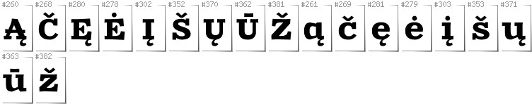 Lithuanian - Additional glyphs in font Zantroke