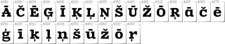Latvian - Additional glyphs in font Zantroke