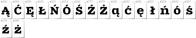 Polish - Additional glyphs in font Zantroke