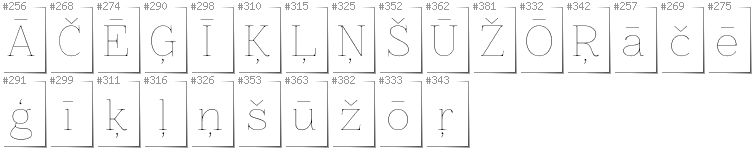 Latvian - Additional glyphs in font Znikomit