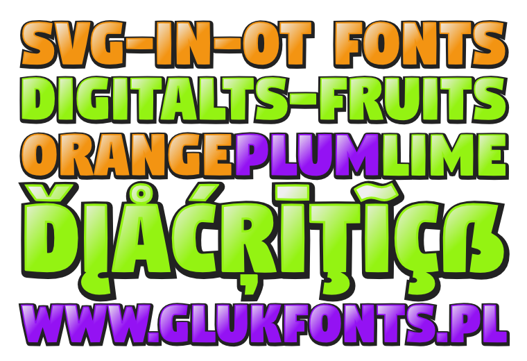 Opentype-SVG font DigitaltS-fruits made by gluk