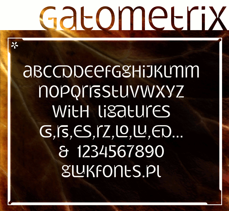 Unicase font Gatometrix by gluk