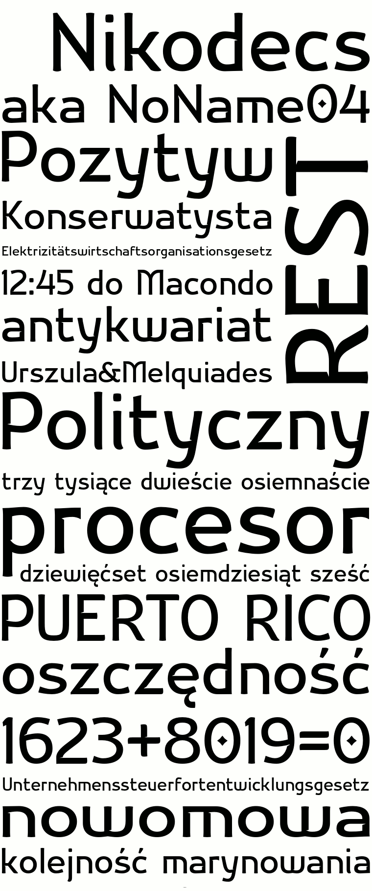 Font Nikodecs made by gluk