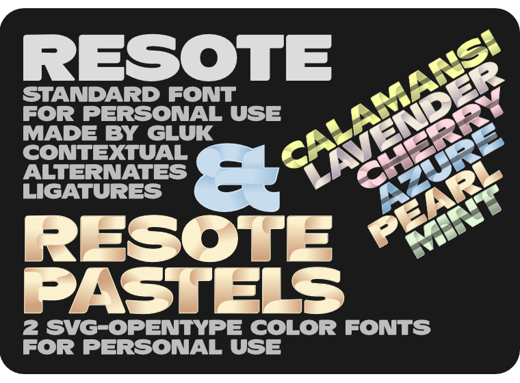 Font ResotE-Pastels made by gluk