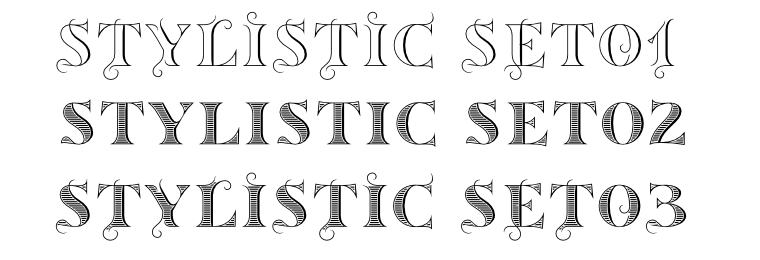 3 stylistic sets in Sortefax