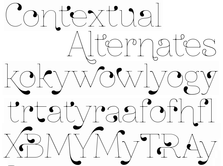 Thin font ZnikomitNo24 with Contextual Alternates by gluk