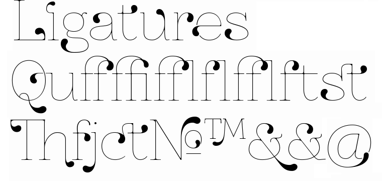 Decorative font ZnikomitNo24 with ligatures made by gluk
