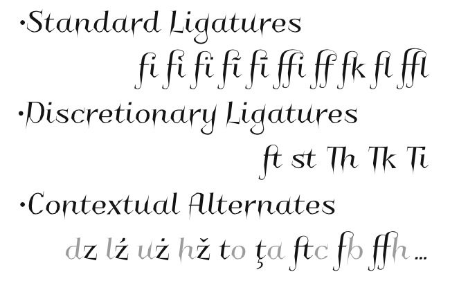 OpenType Features in font Charakterny