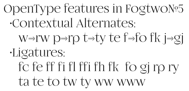 OpenType Features in font FogtwoNo5