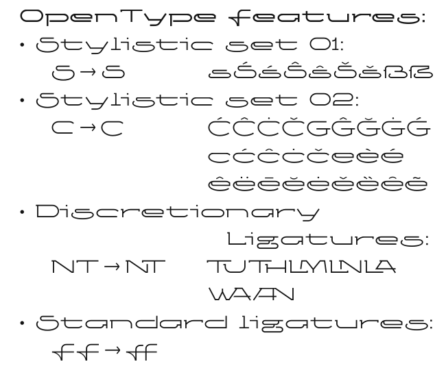 OpenType Features in font Ketosag