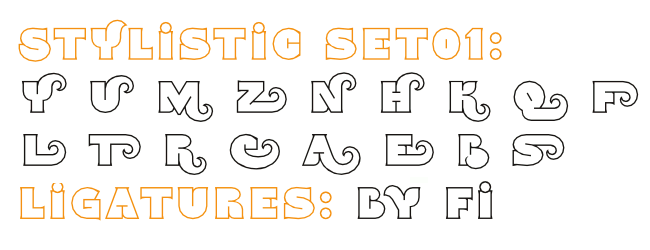 OpenType Features in font Namskout
